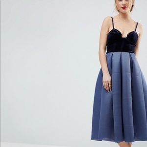 ASOS Velvet Top Midi Dress